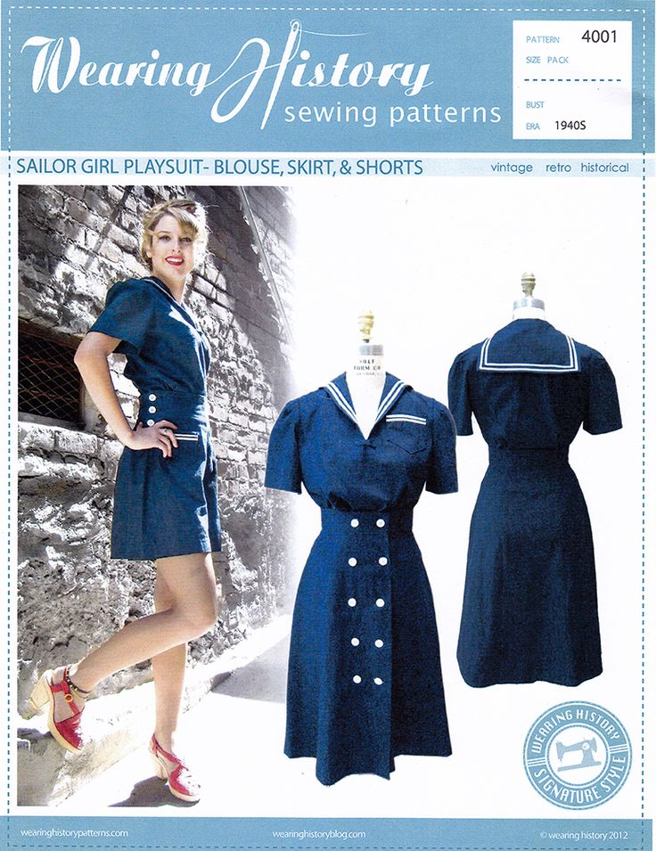 Paper sewing pattern to make a 1940s sailor girl playsuit, including a blouse, high waisted skirt and high waisted shorts with button accent at the sides. Condition This is a new and unused vintage re