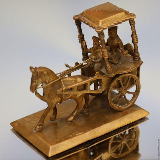 Винтажные предметы интерьера. Ярмарка Мастеров - ручная работа. Купить Повозка карета конь бронза латунь Англия. Handmade. Золотой