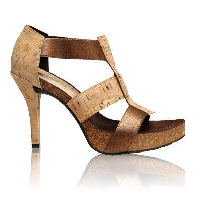 Donald J Pliner Cork & Leather Strappy Heel