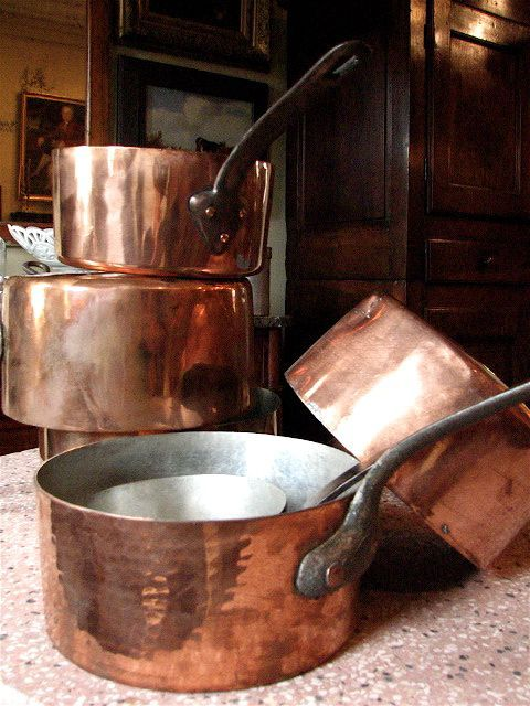Collection of French Copper Pans...My favorite Christmas gift that my husband ever gave me (and he's given me some great ones) was a set of copper All-Clad cookware which are beautiful & cook like a dream!