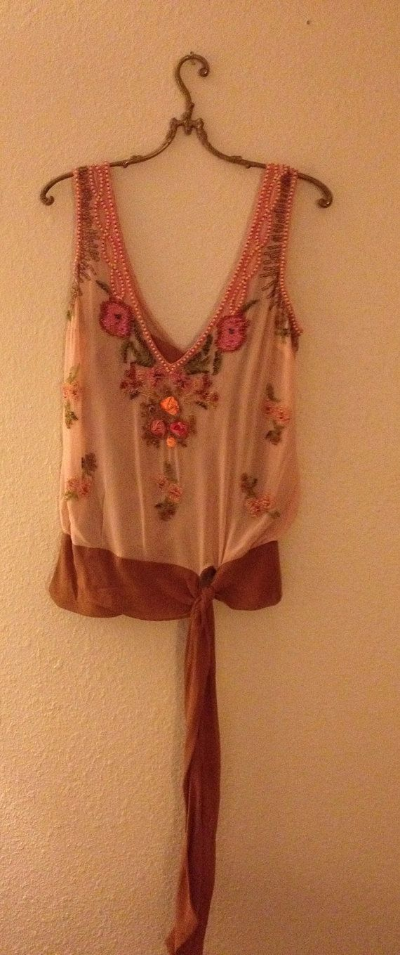Flapper  inspired beaded tunic with ribbon sash  by BohoAngels, $180.00: