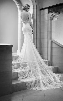 Illusion V-neck Mermaid Open Back Sleeveless Lace Wedding Dress