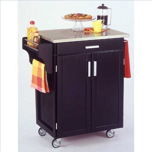 Home Styles 9001-0042 Create-a-Cart 9001 Series Cuisine Cart with stainless steel Top, Black, 32-1/2-Inch by Home Styles. $279.17. This home styles 9001 series cuisine kitchen cart is a unique and refreshing solution for kitchen utility. Made of solid wood, natural asian hardwood with stainless steel top and utility drawer. This cart is having a two door cabinet with an adjustable shelf within and utility drawer on metal drawer slides. Available in black finish. Mea...