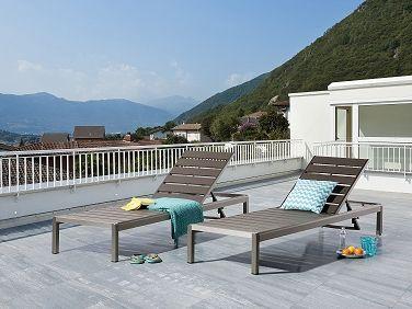 Transat de jardin en aluminium - chaise longue grise - Nardo