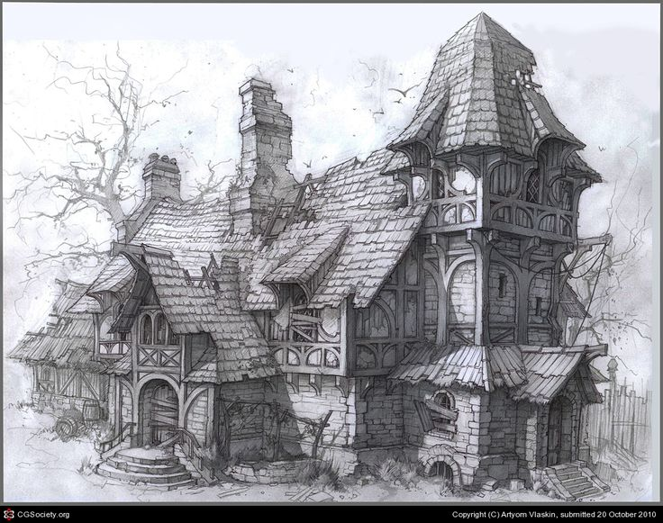 39 best images about fantasy art sketches on pinterest for 2d building drawing