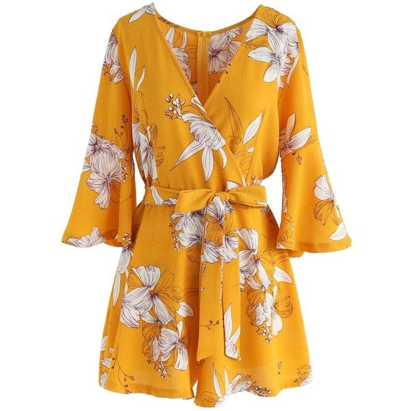 Chicwish Bold Blooms Floral Wrapped Playsuit in Yellow (€32) ❤ liked on Polyvore featuring jumpsuits, rompers, yellow, playsuit romper, flower print romper, wrap rompers, wrap romper and yellow romper