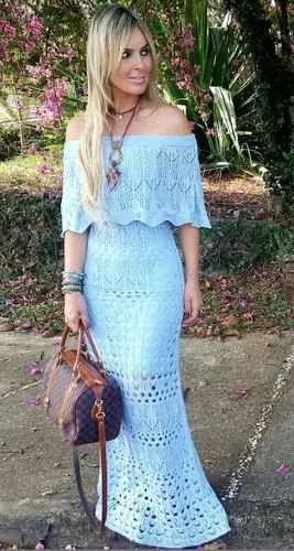 vestido longo rendado ciganinha babado crochet  verao 2017