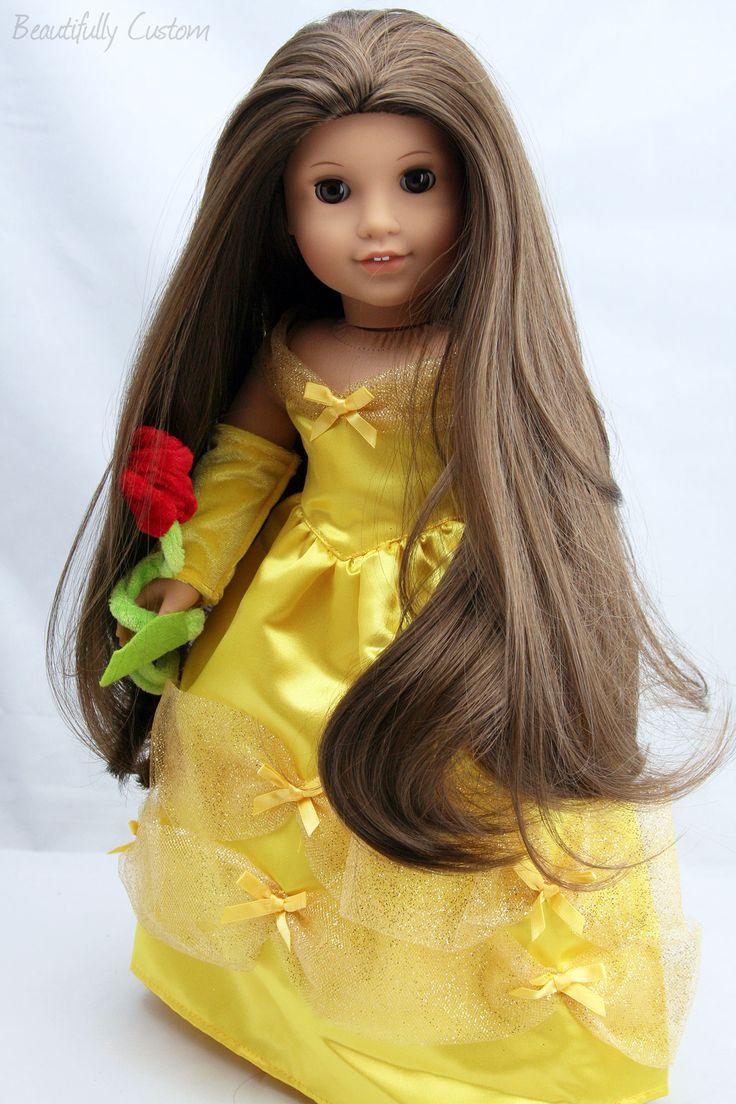 Custom American Girl Doll Princess ~ Brown Eyes and Long Silky Brown Hair - Julie with custom brunette wig and custom yellow dress with rose ~Belle www.facebook.com/beautifullycustom
