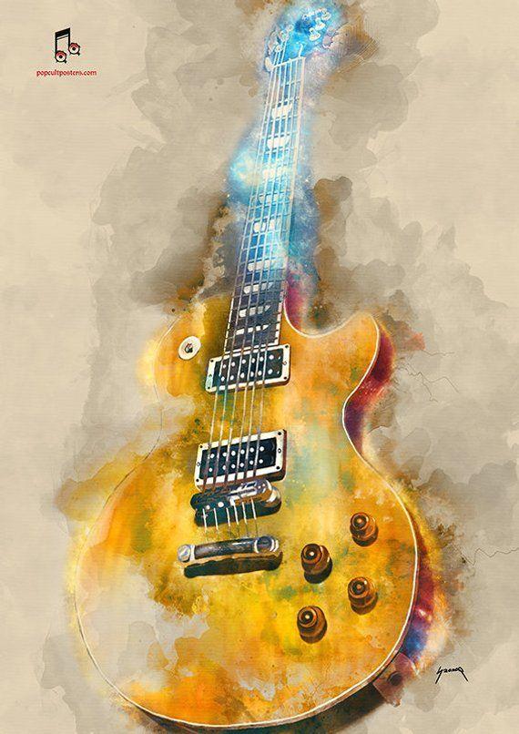 Guitar Art Music Wall Art 12x16 Music Poster Music Room Decor