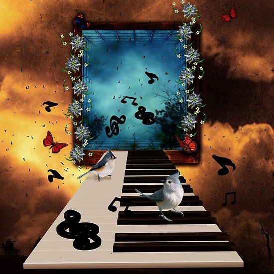 Music, piano with birds and butterflies