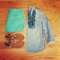 chambray shirt + teal shorts + statement necklace + leopard sandals [white coat wardrobe]