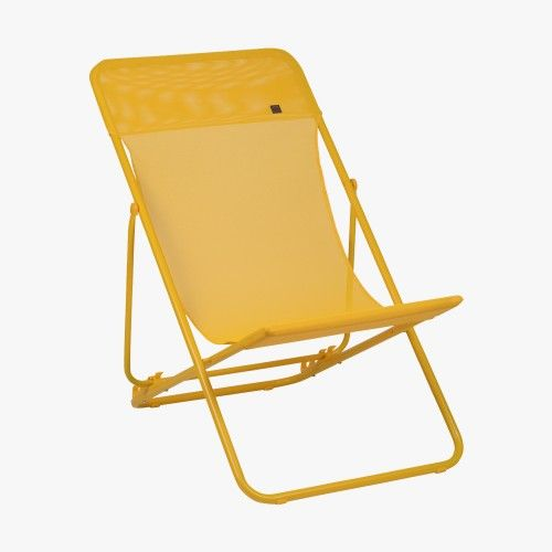 Chaise longue pliante maxi transatube colorblock banana for Mobilier jardin chaise longue