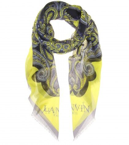 #Lanvin Cotton and silk-blend printed scarf