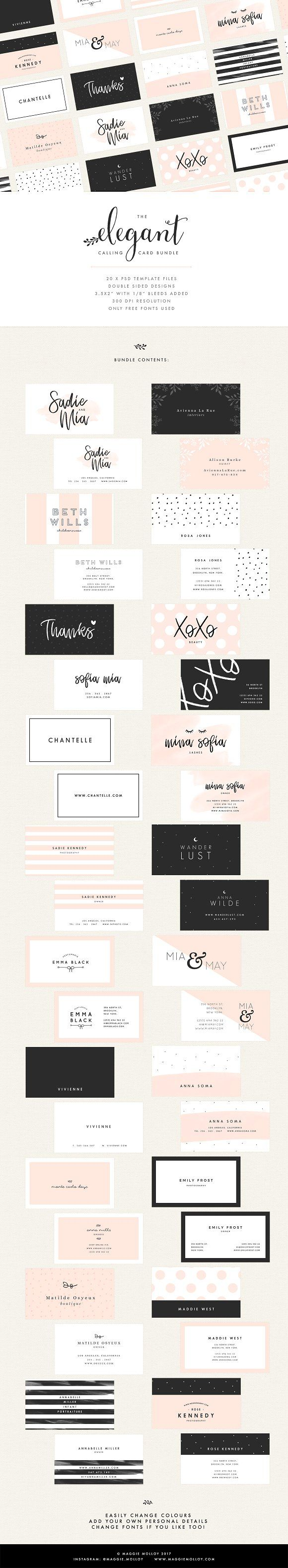 Illustrator Business Card 20 Feminine Business Card Templates by Maggie Molloy on Creative Market