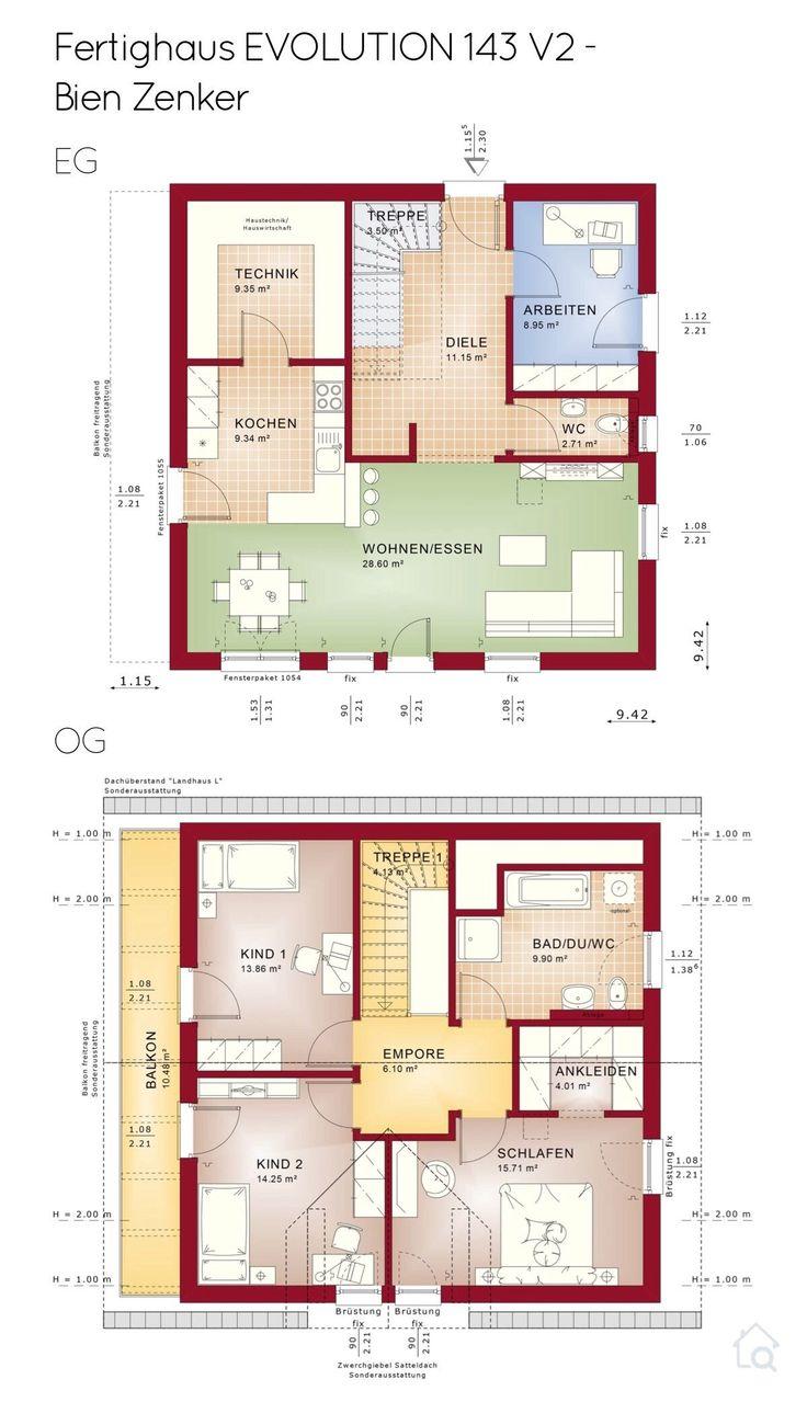 Grundriss Einfamilienhaus im Landhaus Stil mit Balkon