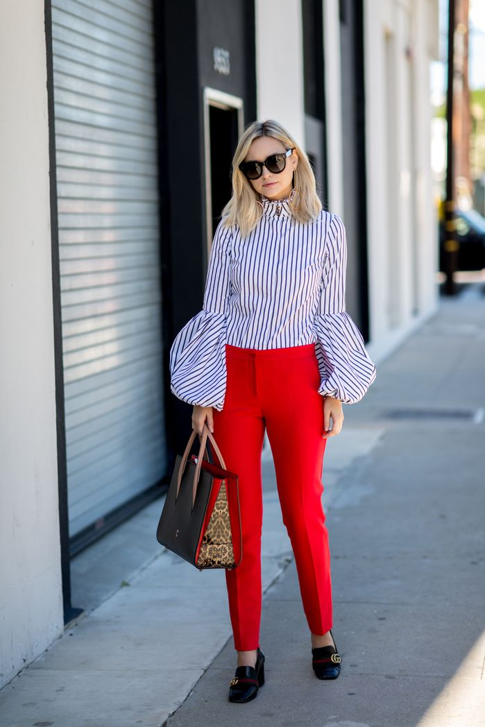 RED PANTS_STRIPED BLOUSE-1