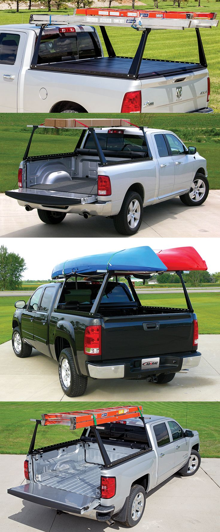 The ADARAC™ Truck Bed Rack System is an adjustable and sturdy rack system, compatible with ACCESS® Brand tonneau covers and other inside-the-rail tonneau covers. It sits neatly behind the cab with no obstruction of view, and is capable of carrying a 500-pound load.