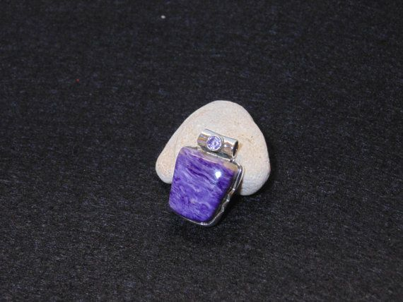 Natural Charoite & Amethyst Healing Pendant 100% 925 Sterling Silver 1