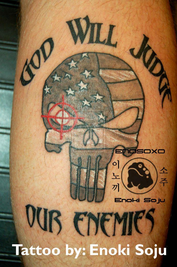Custom Punisher Skull American Flag Tattoo by enokisoju.deviantart.com on @deviantART
