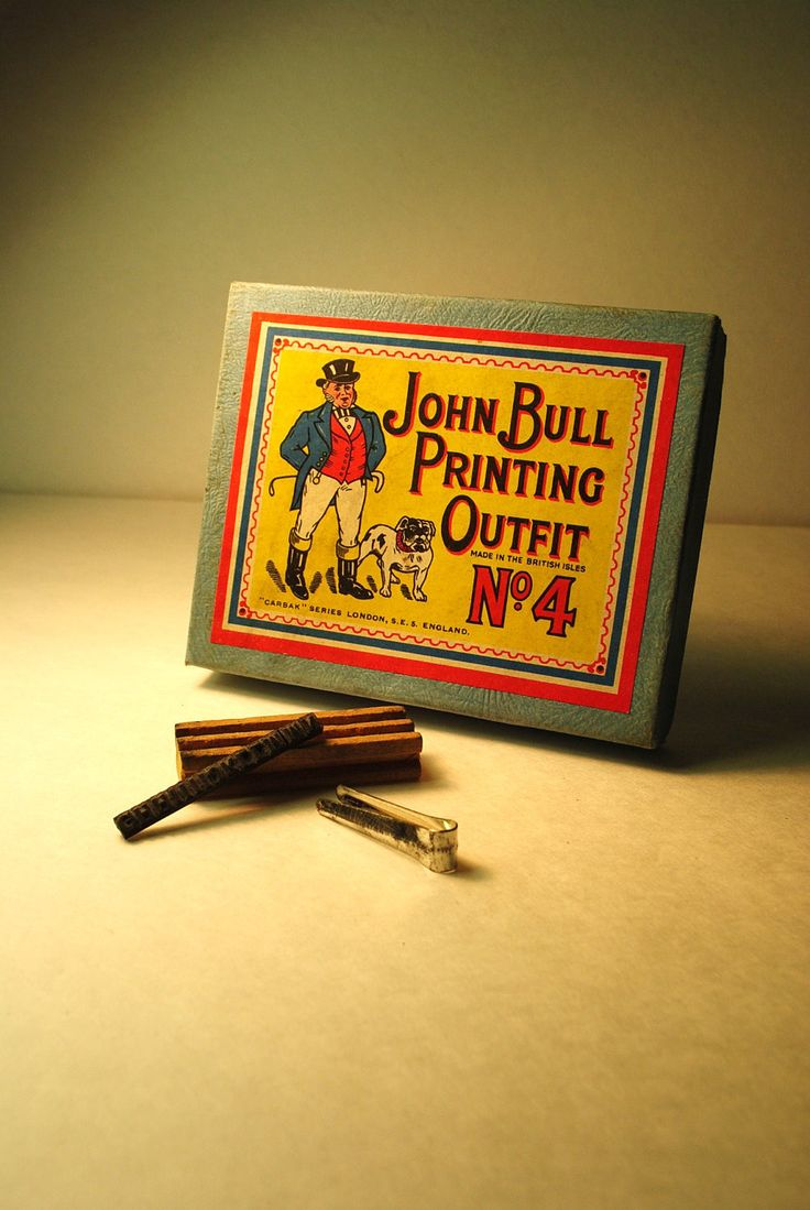 John Bull CHILDS PRINTING SET antique John Bull No. 4 Printing Outfit Made in the British Islestoy childs vintage antique