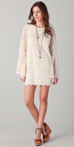 Bell sleeve lace dress.
