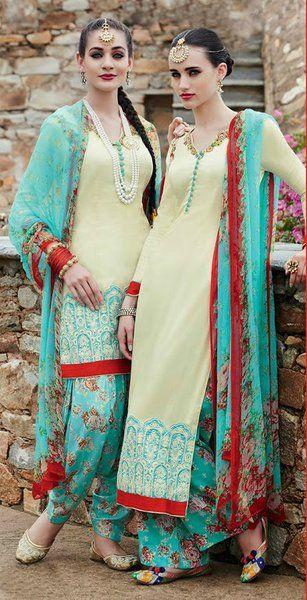 Elegant Cream & skyblue cotton satin embroidered patiala suit | Saira's Boutique