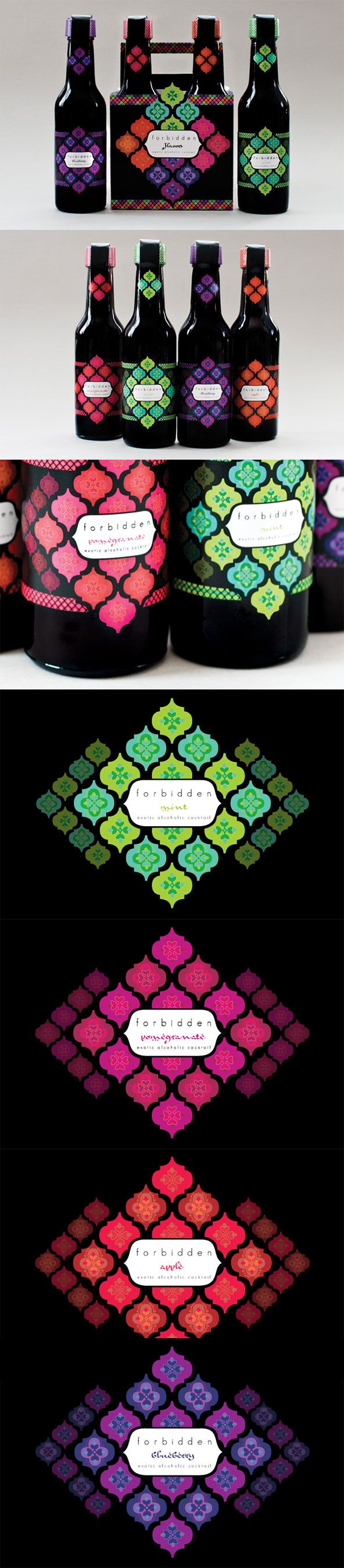 Colorful Forbidden alcoholic cocktails #packaging PD