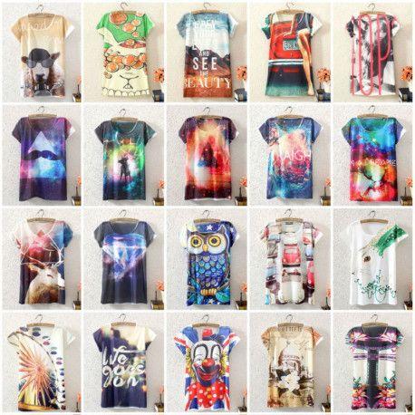Fashion Vintage Spring Summer Digital Printing Girl Lady Women's Short Sleeve T-shirt Cotton Printed Tee T Shirts