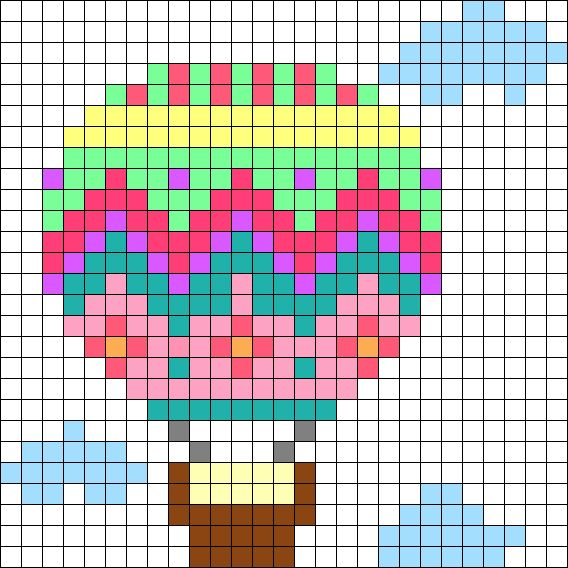 Hot Air Balloon Perler Bead Pattern / Bead Sprite