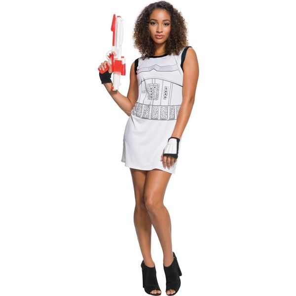 Star Wars Stormtrooper Rhinestone Adult Dress Set ($24) ❤ liked on Polyvore featuring costumes, halloween costumes, star wars halloween costumes, adult star wars costume, adult stormtrooper costume, star wars stormtrooper costume and storm trooper costume
