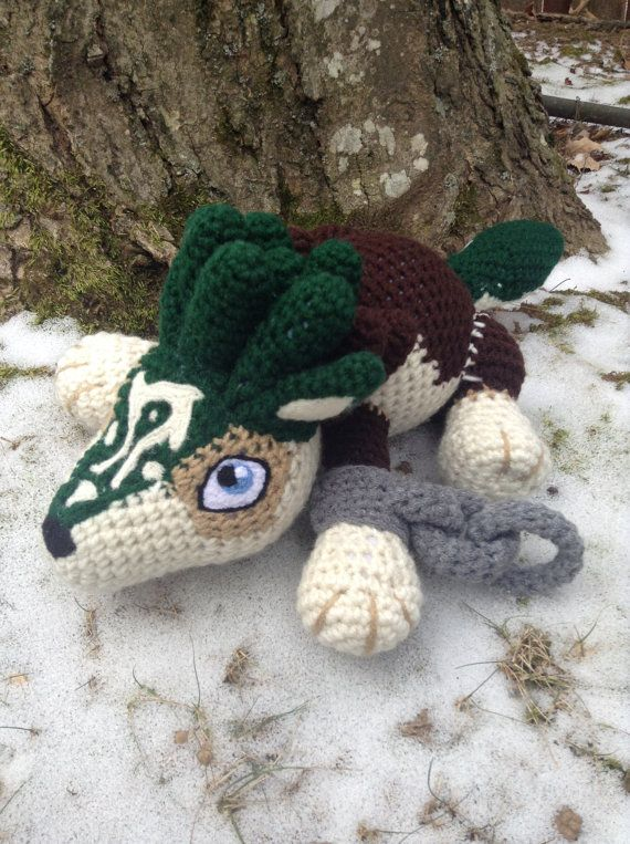 Legend of Zelda Inspired: Worlf Link Amigurumi  by TheTallGrass Handmade plushie (in crochet Amigurumi style) of the iconic Wolf Link from Twilight Princess!  Wolf Link measures 6in tall, 8in wide and 14in long from nose to tail tip. All of his details are done in crochet aside from his eyes, nose, inner ears and facial marking which are needle-felted on.  Wolf Link is now MADE TO ORDER and takes about 4-5 days to complete, so please allow at least 2-3 weeks for completion (I do get quite…