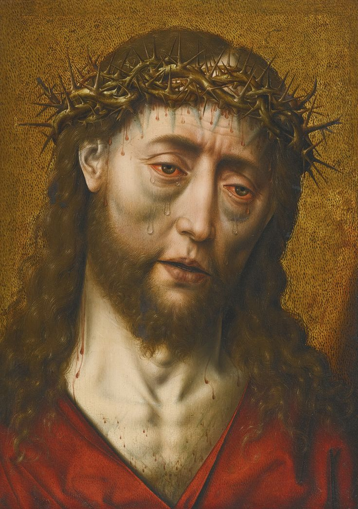 Workshop of Albrecht Bouts LEUVEN CIRCA 1452/5 - 1549 PLACE UNKNOWN CHRIST CROWNED WITH THORNS oil on paper(?) laid on panel, gold ground 36 by 26 cm.; 14 1/8  by 10 1/4  in.