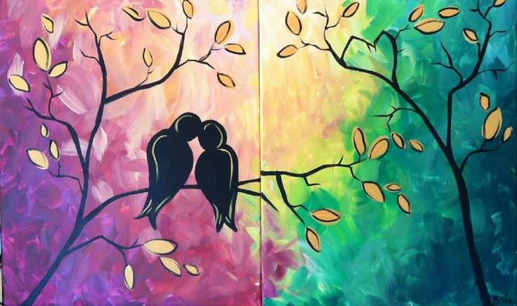 Love birds double painting