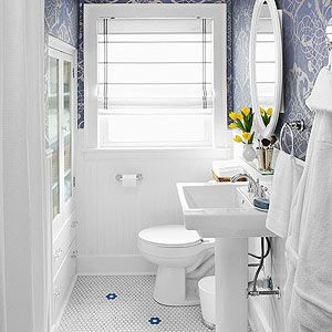 Large scale periwinkle damask in a bath yum chez bliss for Periwinkle bathroom ideas
