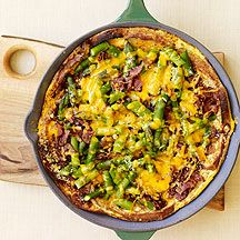 Weight Watchers Recipe :    Asparagus, Bacon and Cheese Strata  .........Stratas make an excellent breakfast or brunch, and they give you the perfect opportunity to use up leftover vegetables, lean meats and day-old bread.