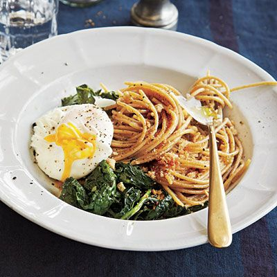 Whole-Wheat Spaghetti with Kale, Poached Eggs, and Toasted Breadcrumbs | CookingLight.com