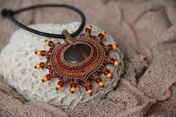 tribal macrame pendant with red tiger eye by veronikaindy on Etsy