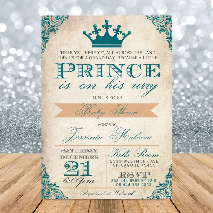 baby shower invite vintage baby shower royal prince theme party