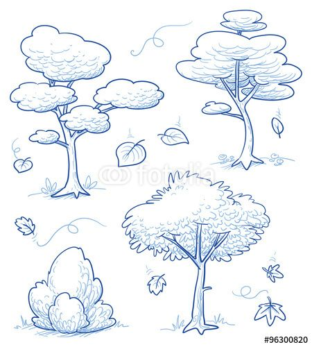 Vecteur : Set of cute cartoon trees, bush, forest with falling autumn leaves. Hand drawn doodle vector illustration.