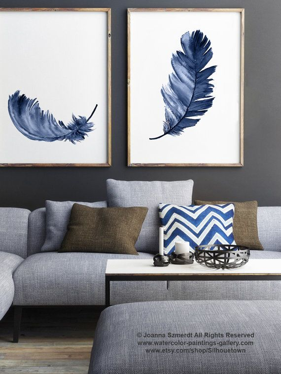 Royal Blue Feather Print set 2 Canvas Feathers Watercolor Painting, Abstract Living Room Decor, Baby Boy Shower Gift Nursery Kids Wall Print