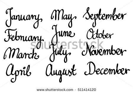 Calligraphic month names set vector april, art, august