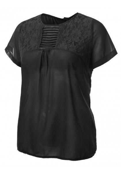 Short Sleeve Chiffon Lace Detail Blouse #jtomsonplussize