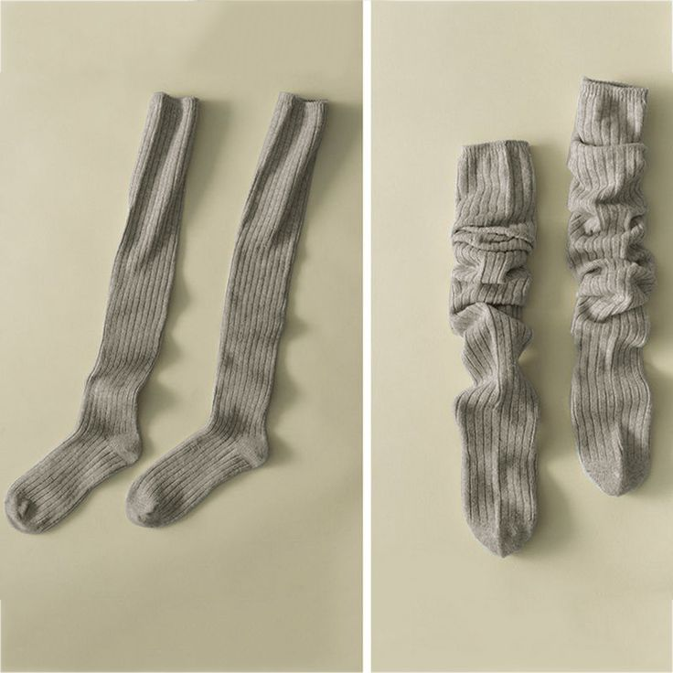 Women Ladies Thick Knitted Knee Stockings Cotton Polyester Warm and Long Socks