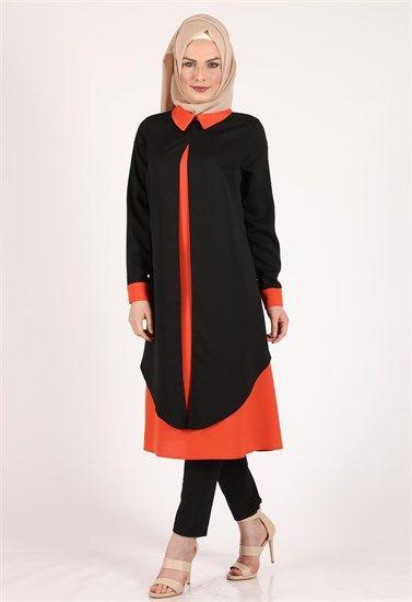 Moda Klas Asimetrik Siyah Tunik İç Turuncu 9323