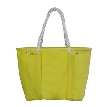 Yellow Colour Canvas Beach Bag with Rope Handles
