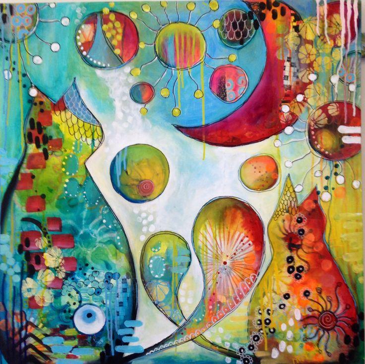 "Monika Dabrowska-Ejmont painting created at Tracy Verdugo ""paint Mojo"" workshop."