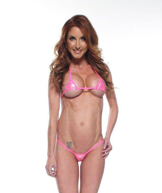 c19c66dd93861 Bitsy's Bikinis Sparkly Holographic Pink Euro Style Micro G-String Thong  Bikini 2pc Triangle Top Exo