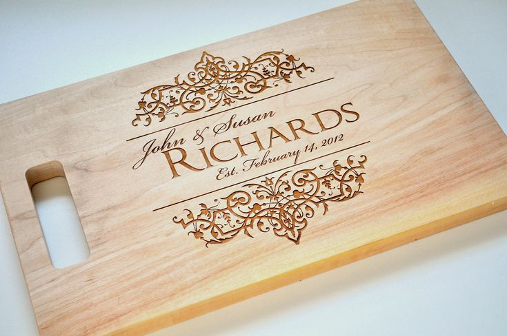 Awesome gift idea for newly weds and home cooks!    Personalized Cutting Board Laser Engraved Hard Maple 8x14 Wood Cutting Board. $33.00, via Etsy.