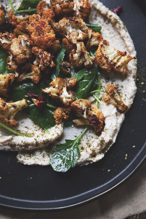 Turkish Hummus Plate with Harissa Roasted Cauliflower and Baby Kale Greens — a Better Happier St. Sebastian
