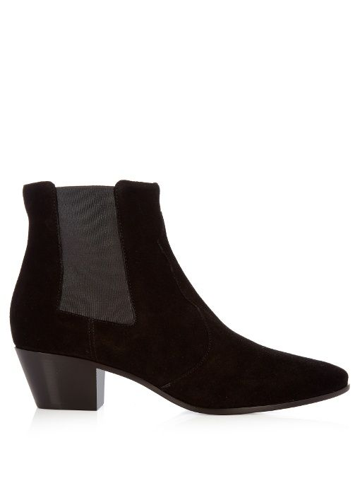 SAINT LAURENT Rock suede ankle boots. #saintlaurent #shoes #boots